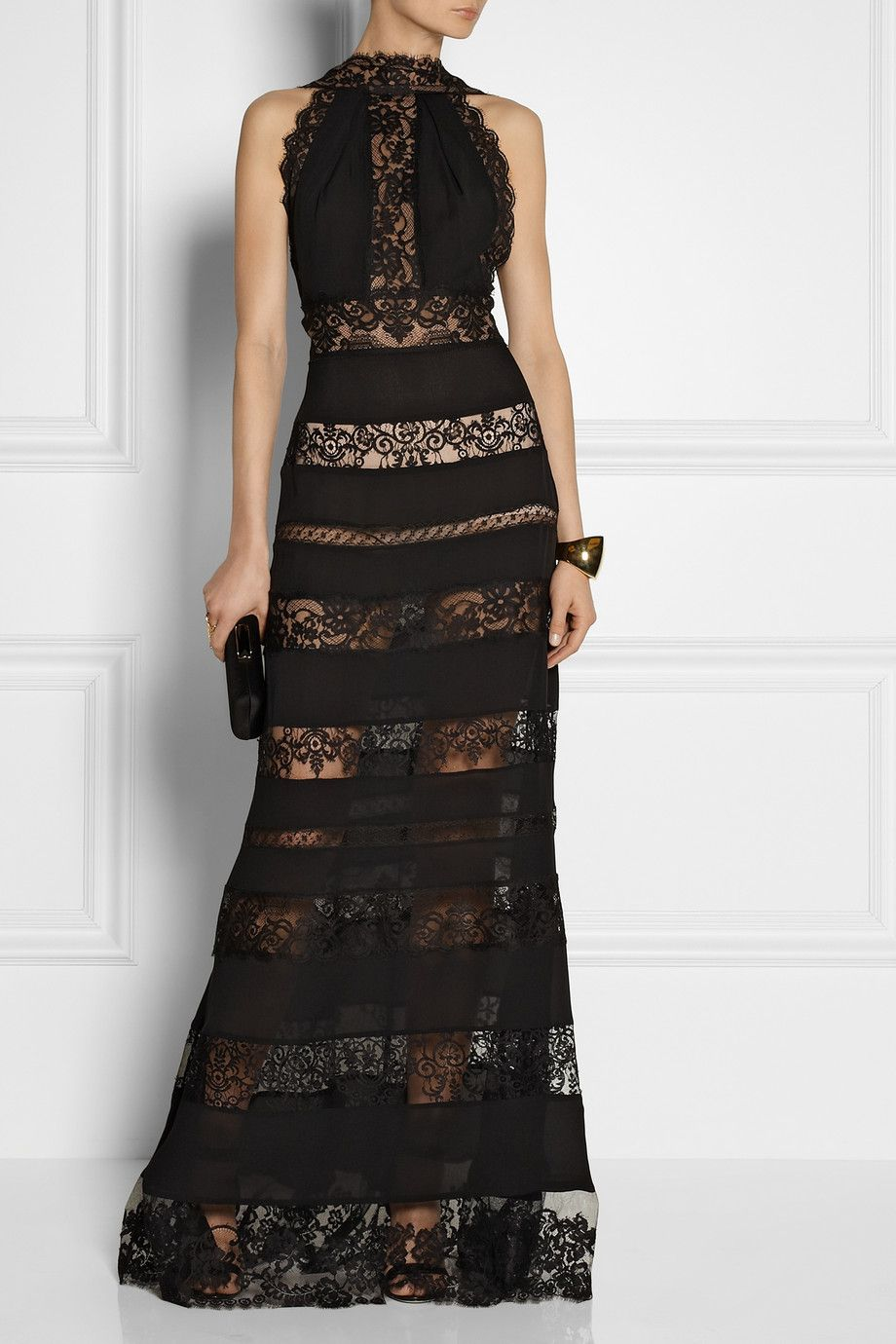 Elie saab paneled lace and cottonblend georgette gown fashion