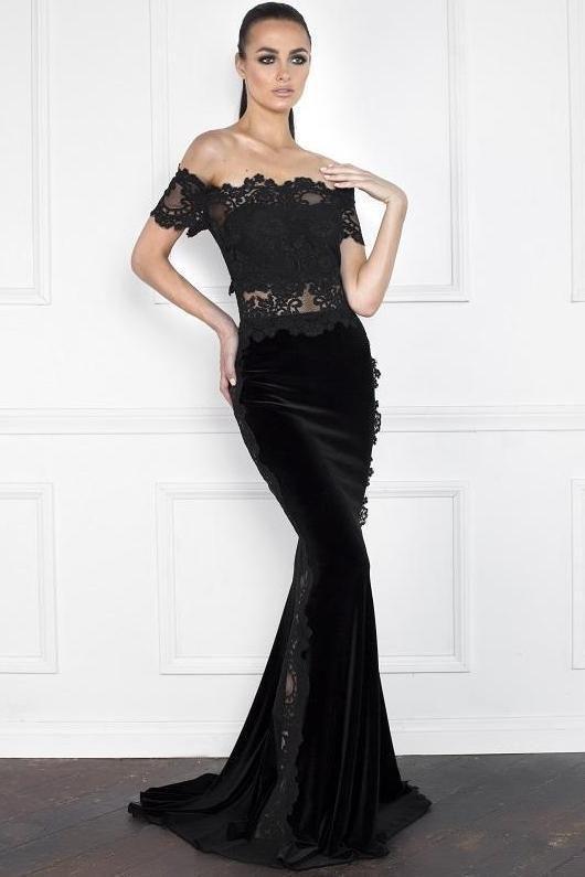 0a50184f59 Nicole Bakti Off Shoulder Sheer Mesh Lace Velvet Gown