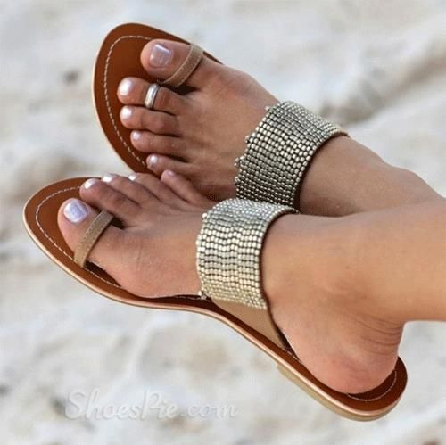 Perfect Rhinestone Flat Sandals   here comes summer