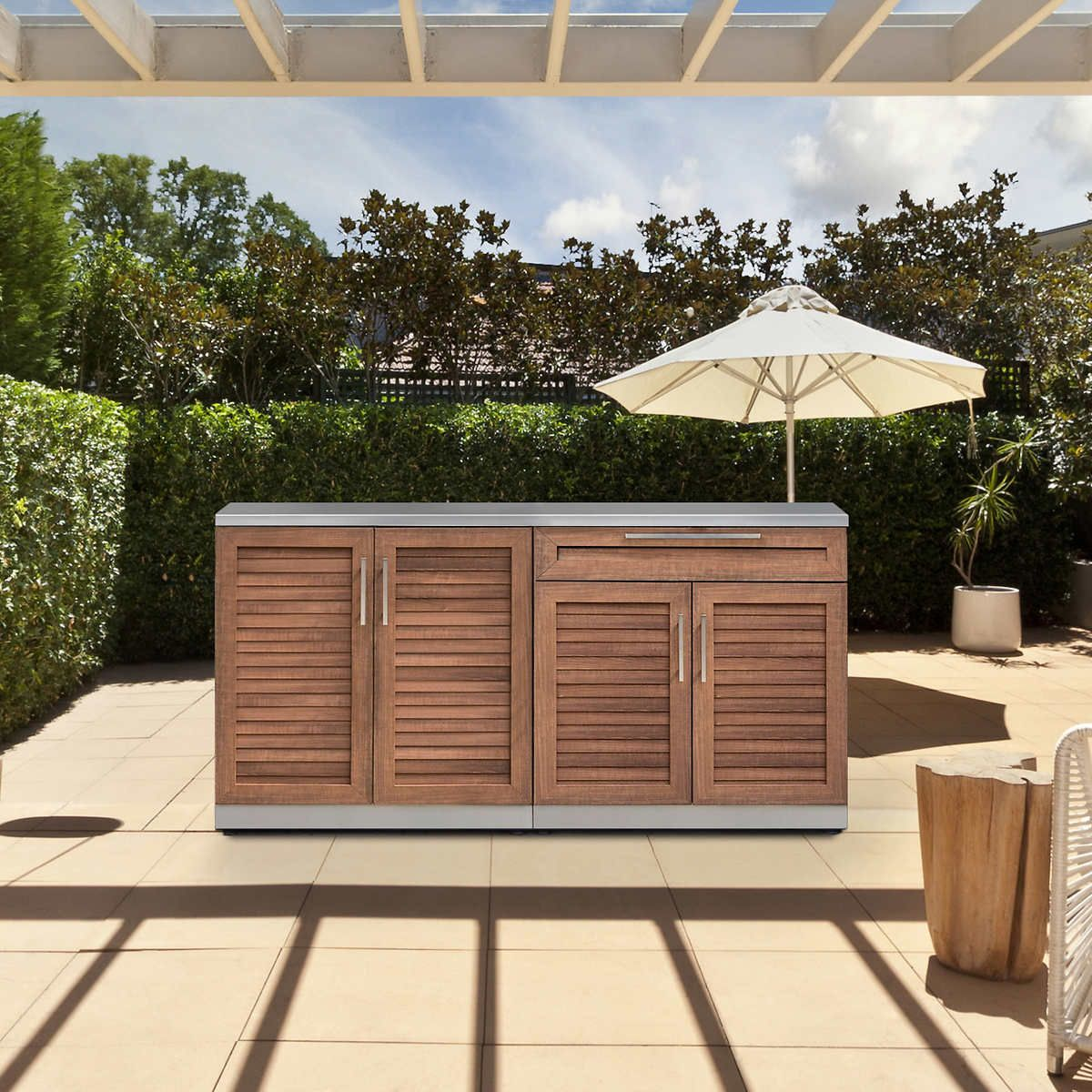 Newage Products Grove Stainless Steel 3 Piece Outdoor Kitchen Outdoor Kitchen Countertops Outdoor Kitchen Design Outdoor