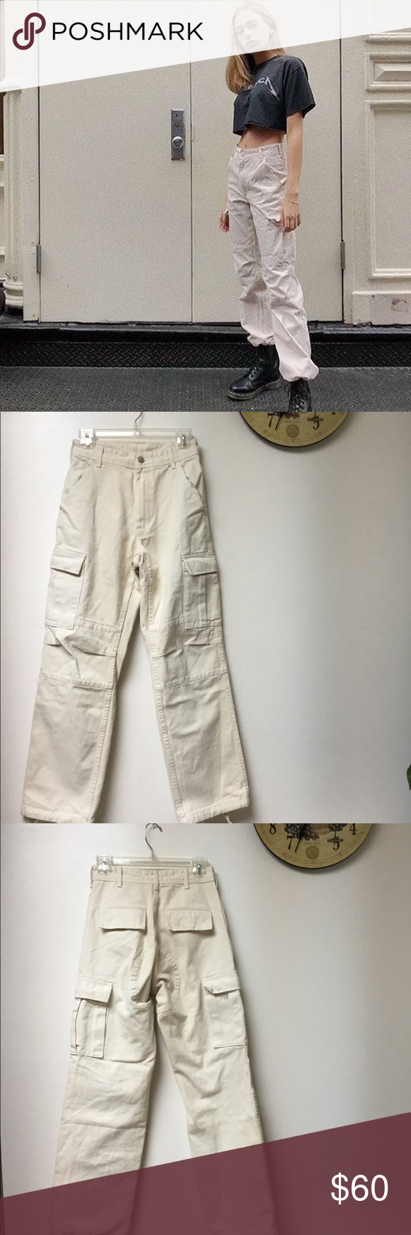 cac03bf49c84 Brandy Melville cream piper worker cargo pants Brand new best fits size  small Brandy Melville Pants