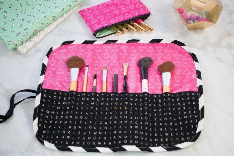 Tutorial Roll Up Makeup Brush Travel Organizer Makeup Brush