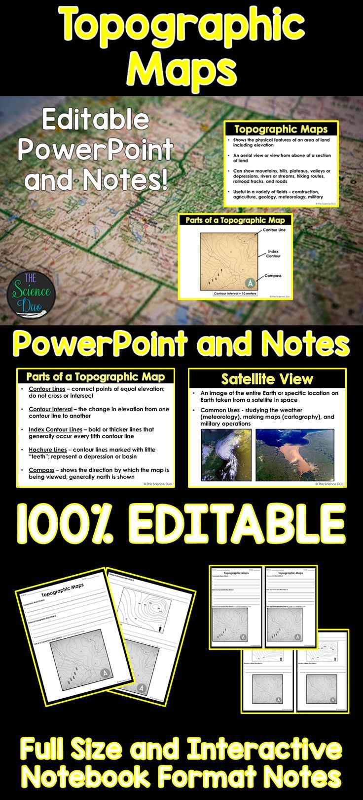 topographic maps powerpoint and notes category 3 earth and space