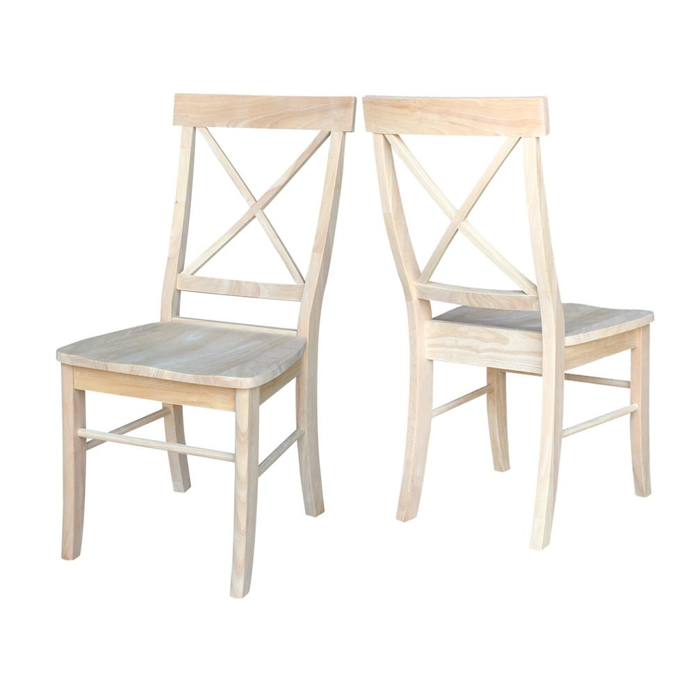 International Concepts Unfinished Wood X Back Dining Chair Set Of 2 C 613p The Home Depot Dining Chairs Diy Dining Chairs Cheap Dining Chairs