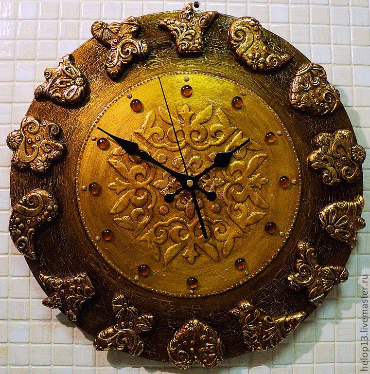 """Купить Часы """"Золото и шоколад"""" (большие) - часы настенные, этно, золото, часы интерьерные"""