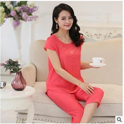 cc1840d3d Women pyjamas home clothes plus size sleepwear set short sleeve pajamas for  women pijama sets cotton linen pijamas XL-4XL A525