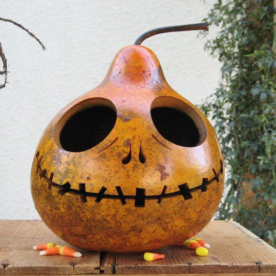 Halloween Gourd Jack O Lantern Natural Fall by pinchmeboutique - tim burton halloween decorations