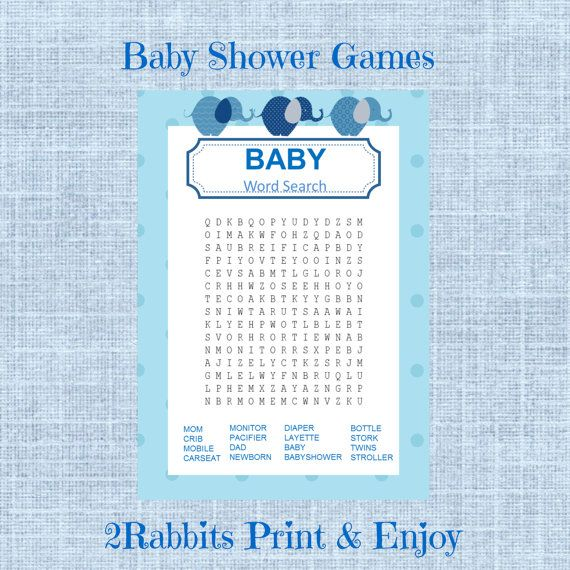 Elephant Boy Baby Shower Word Search Game Baby Shower Crossword Puzzle  Game Instant Download   Light Blue Polka Dot  Blue Elephants