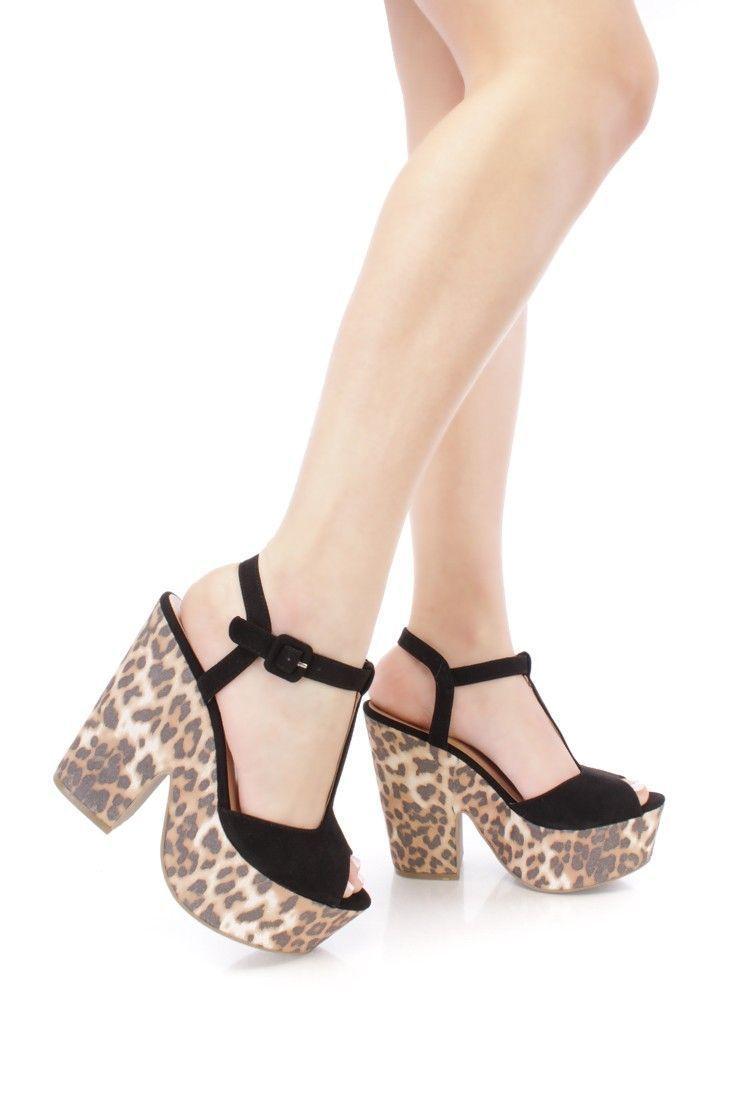 8160b0d669 Sexy Black Leopard Print Platform Open Toe Chunky High Heels Faux Suede  #Platformpumps