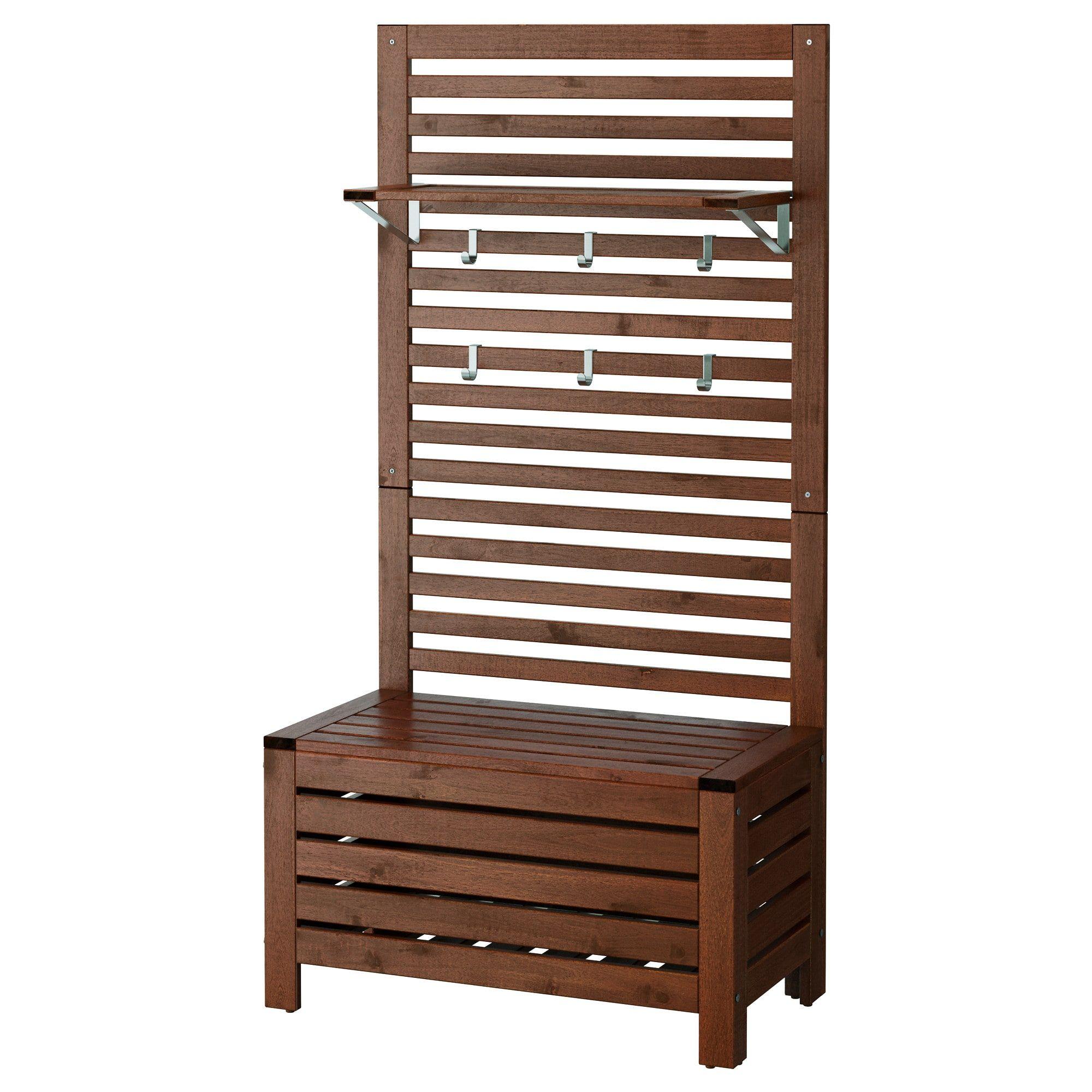 Ikea 196 Pplar 214 Bench W Wall Panel Shelf Outdoor Brown