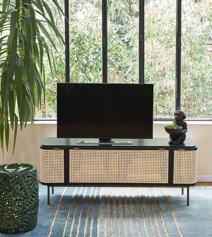 3 Door Woven Rattan Tv Unit En 2020 Meuble Tv Meuble Unite De Television Rattan Tv Unit Tv Unit Wood Tv Console