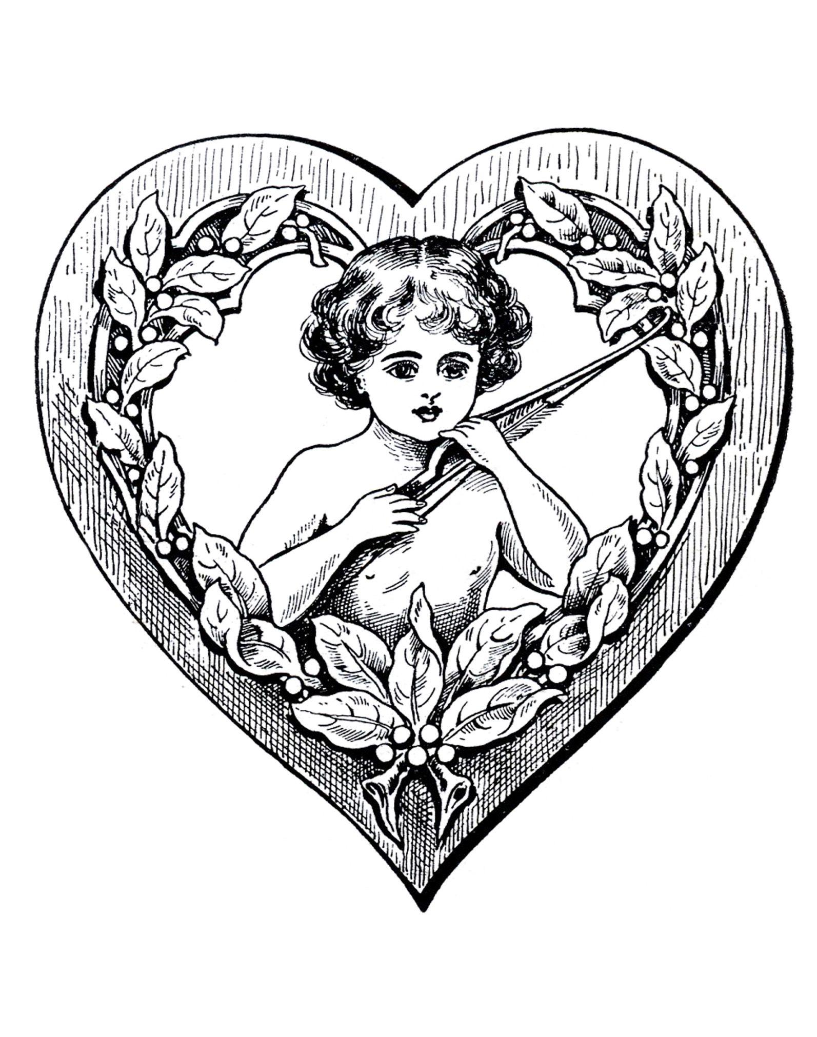 Colorear para adultos : Vintage - 39 - Esta imagen contiene : Amor ...