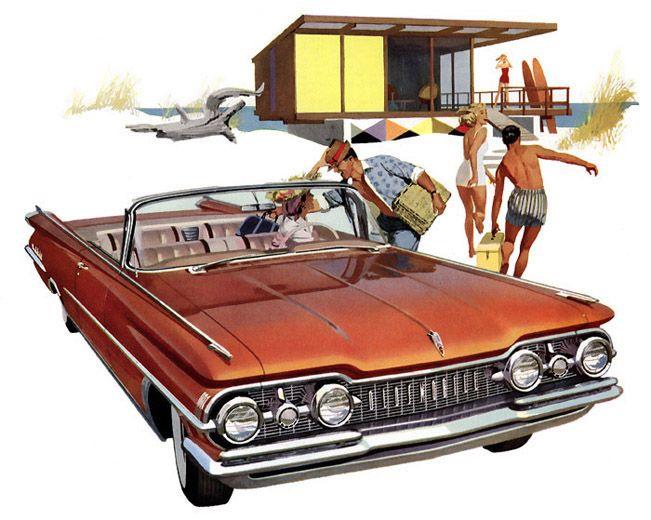 Plan59 :: Classic Car Art :: Vintage Ads :: 1959 Oldsmobile 98 convertible