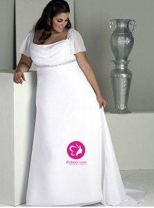 A-ligne Col carré Traîne courte Robe de mariée en Mousseline polyester avec Perle Ruché(FR0257142)