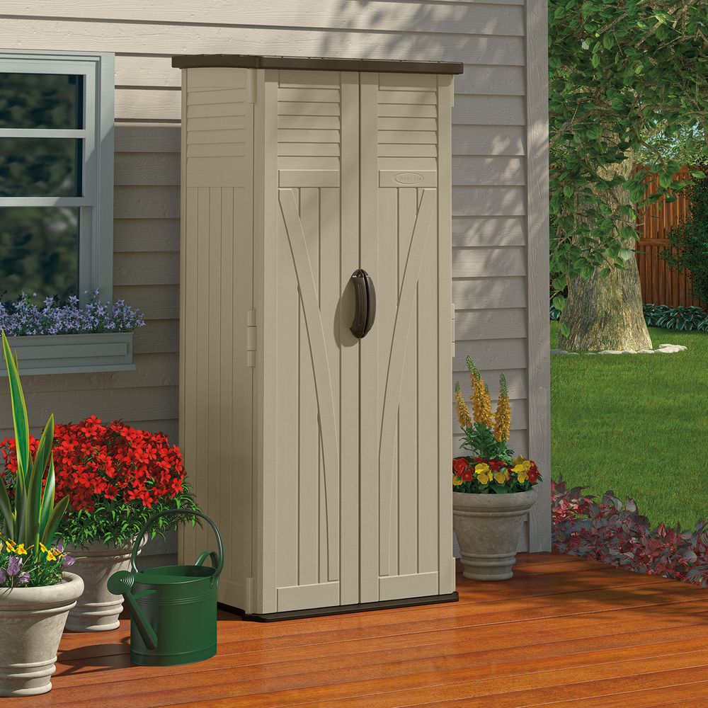 Outdoor Storage Shed Container Organizer Box Cabinet Garden Yard Tools Shelf Suncast