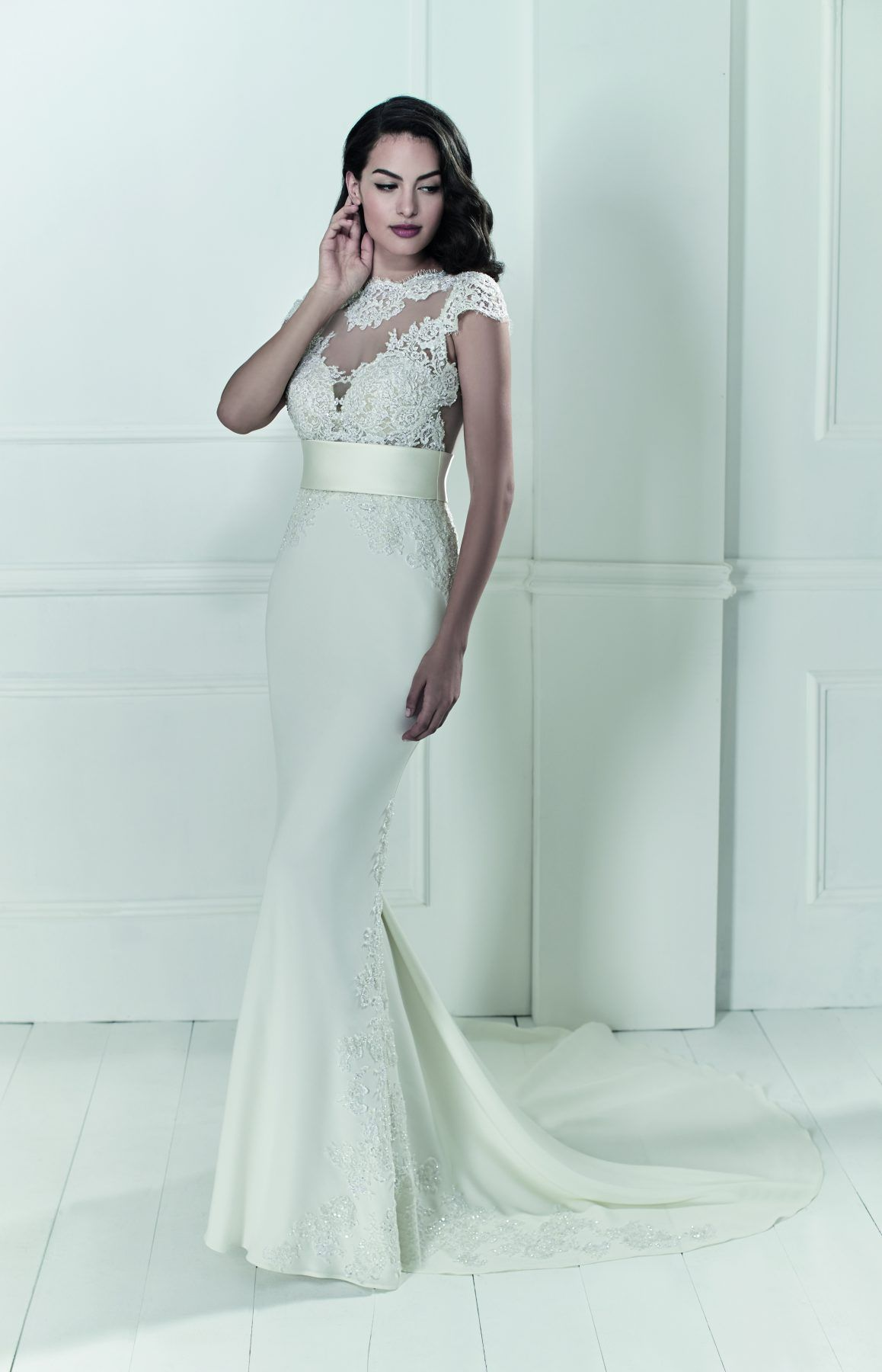 Fit and flare cap sleeve gown with lace and illusion detailing belt