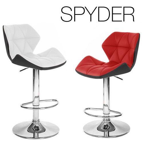 Set of 2 Spyder Contemporary Adjustable Barstool - Black/White