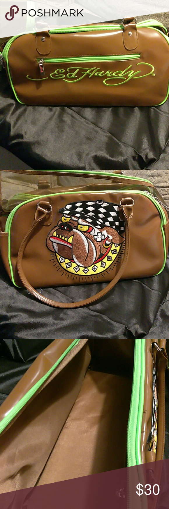 Ed Hardy pet carrier Beautiful brown and green Ed Hardy Bags 7bc1c4a8c1