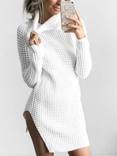 ceda8f50c66 Turtle Neck Split Women s Sweater Dress