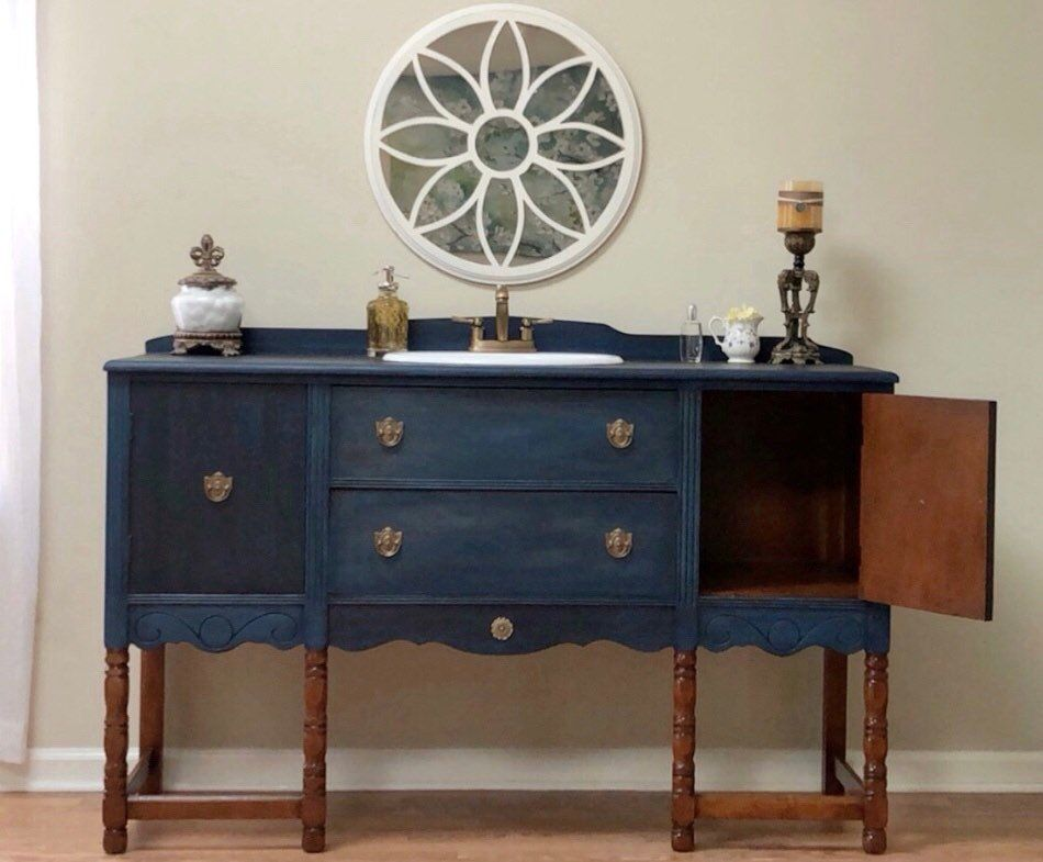 Beautiful Bathroom Vanity made from a vintage buffet solid ...