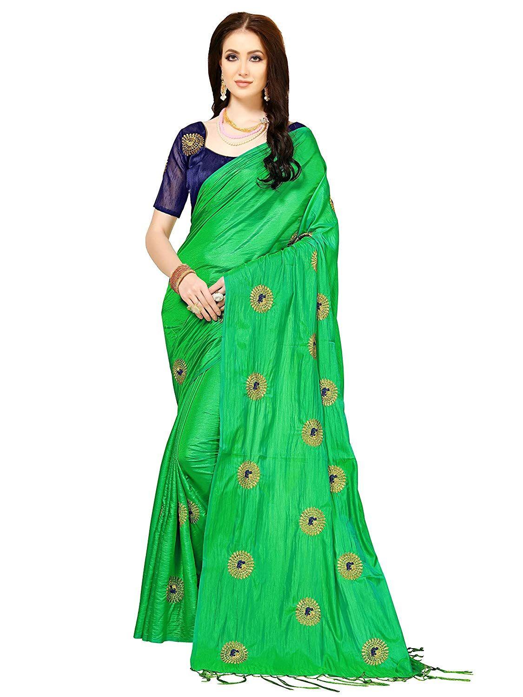 3a6753e5b Indira Designer Silk Saree with Blouse Piece (WORK-GREEN-SANA Green Free  Size)