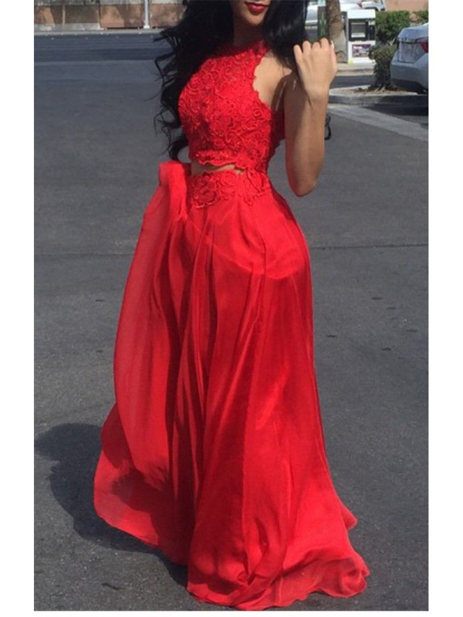 Two pieces lace long red prom formal evening party dresses