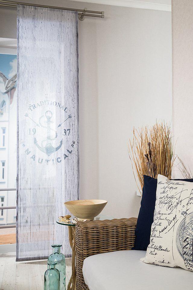 Schiebegardine, Homing, »Anchor«, mit Klettband (1 Stück mit Zubehör) für 37,69€. Transparenter Stoff, Bedruckt, Trendige Naturoptik bei OTTO