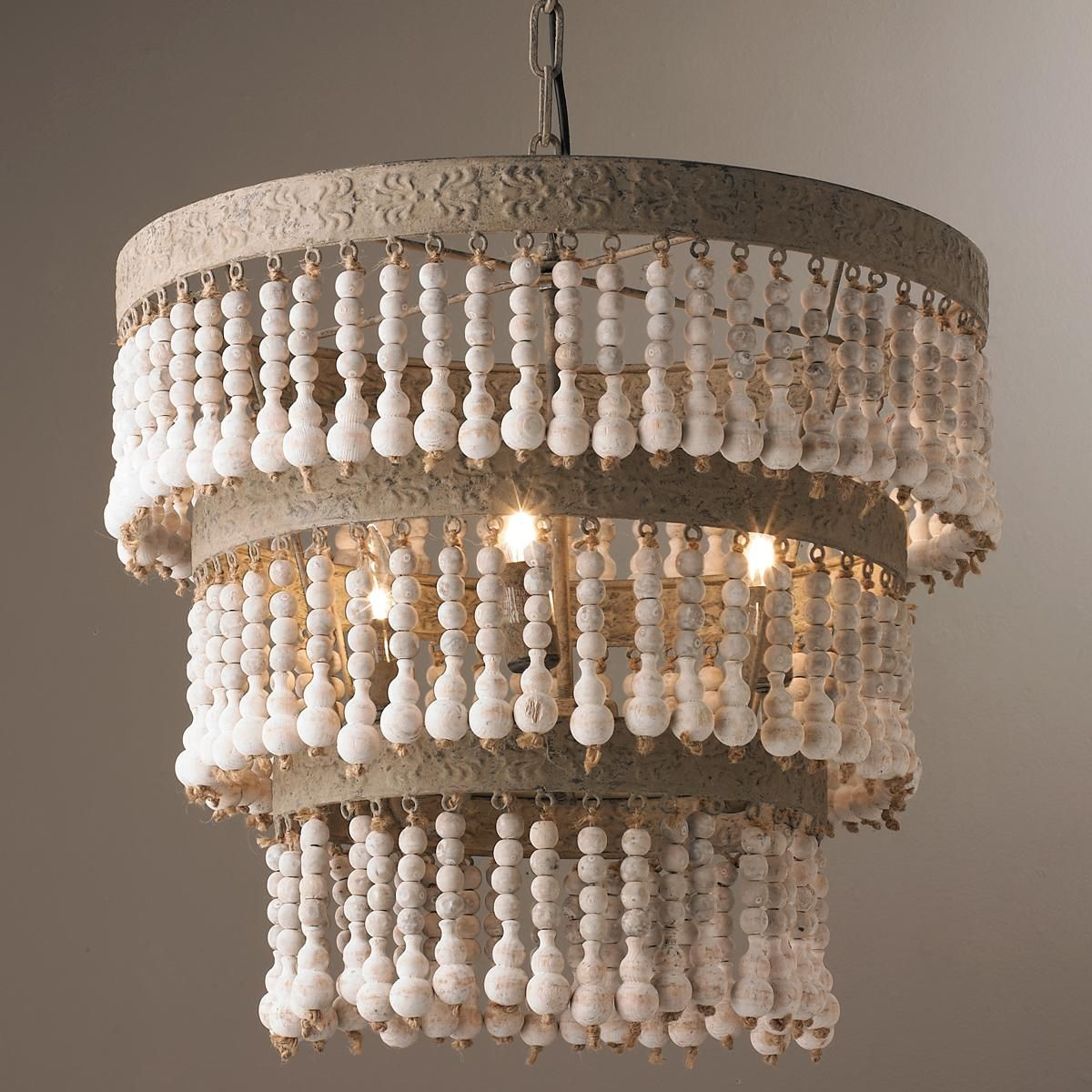 Three tiered wood beaded chandelier distressed wood beads for Wood chandelier lighting