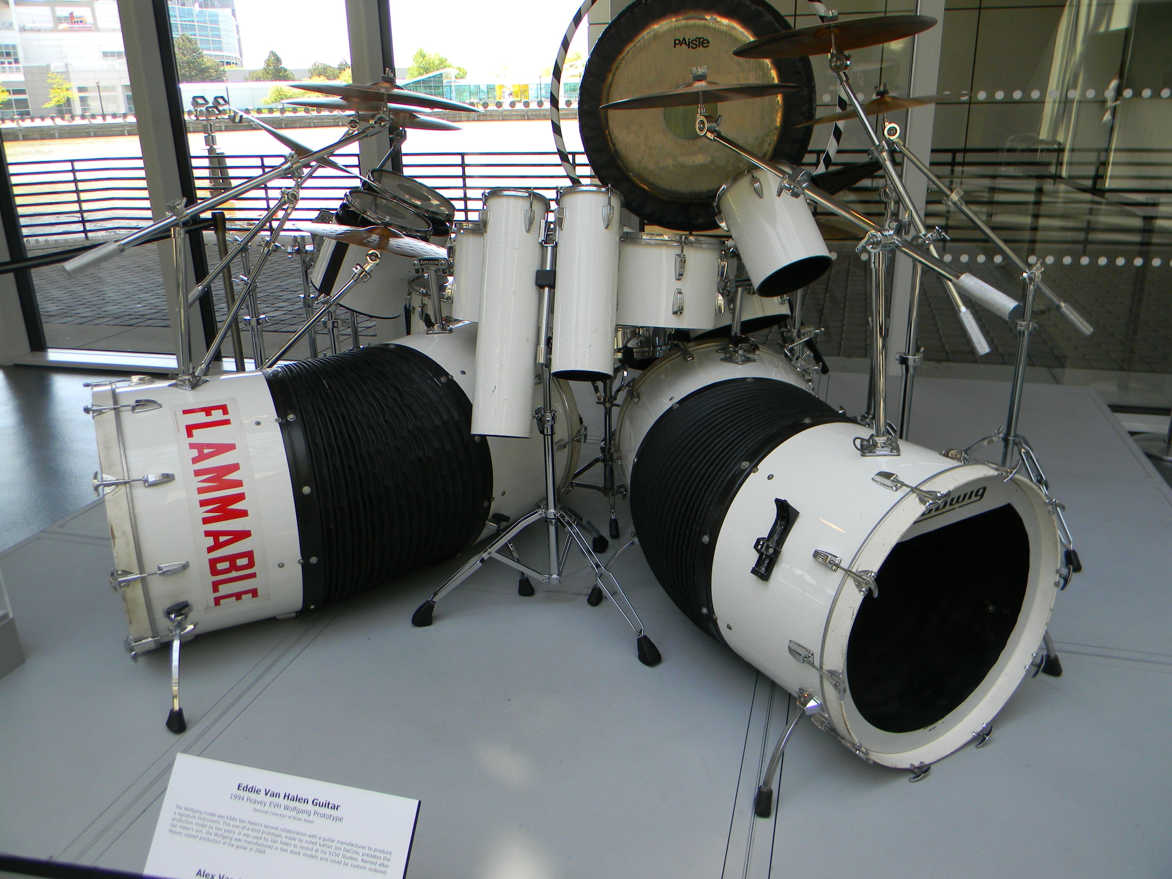 Alex Van Halen S Women And Children First Drum Set On Display At The Rock And Roll Hall Of Fame Drums Alex Van Halen Drum Set