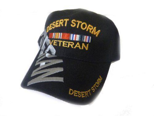 bc2e227cc91ebc Desert Storm Veteran Baseball Cap BLACK Hat U.S. Army Air Force Marines  Navy Vet Caps http