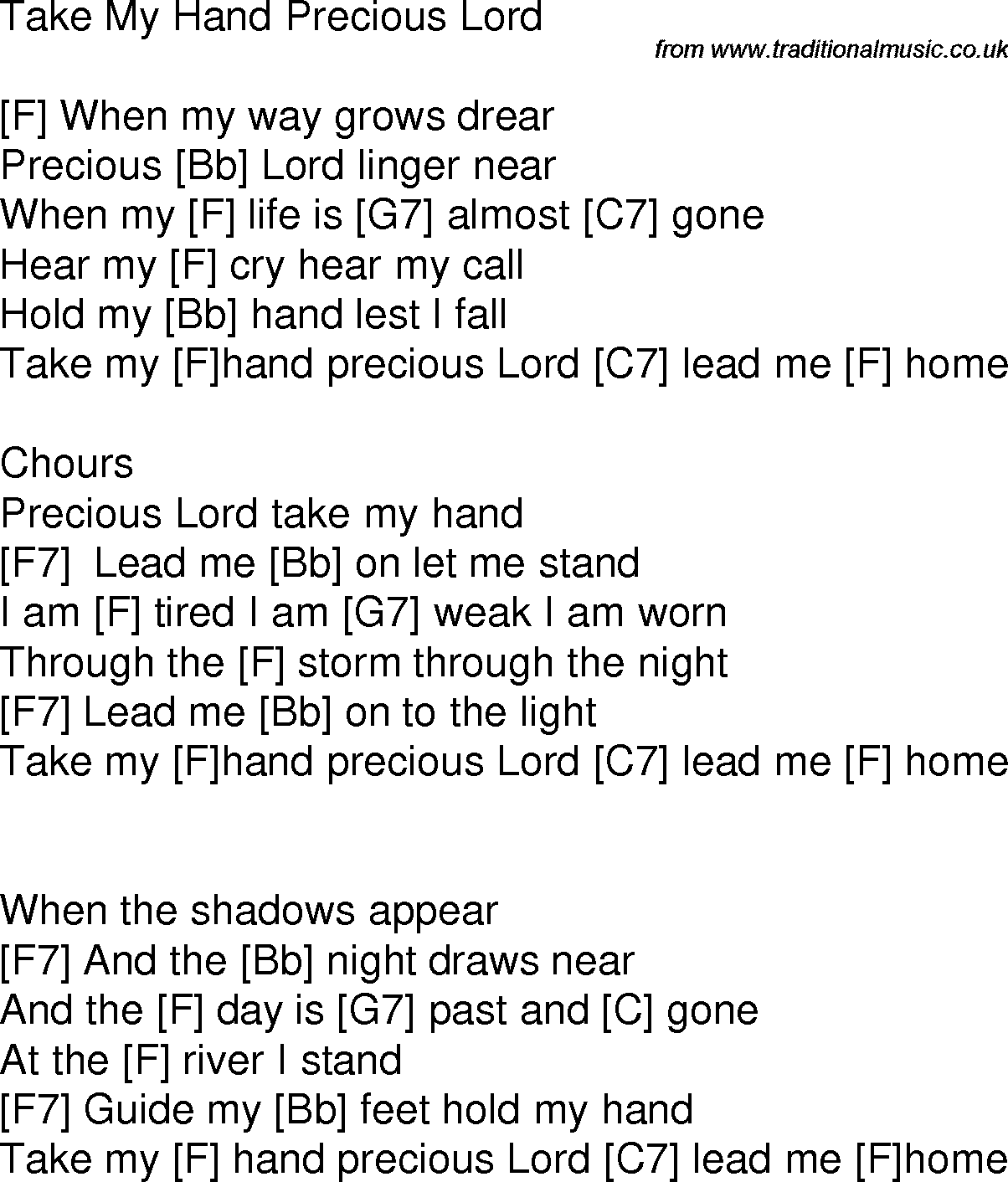 Old Time Song Lyrics With Chords For Take My Hand Precious Lord F
