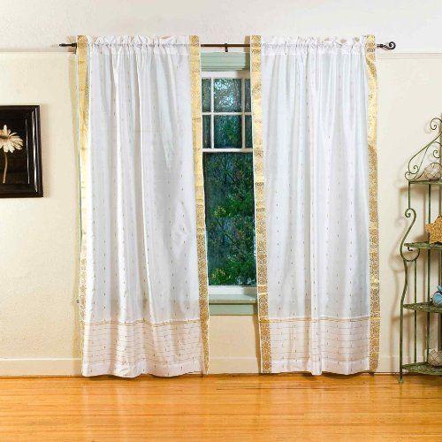White 84 Inch Rod Pocket Sheer Sari Curtain Panel India Pair