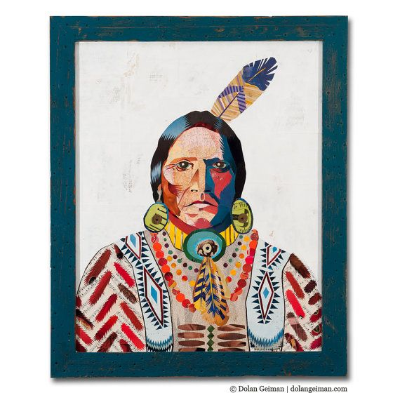 Tribal Collage Portrait, American Heritage Collection: Warrior, Original Artwork Made to Order, Native American, Feather Chevron Pattern