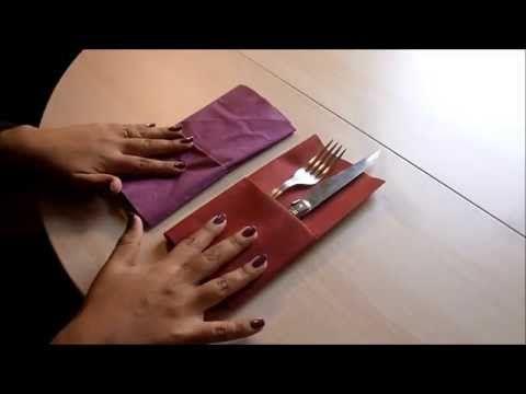 doblar servilletas de tela para cubiertos