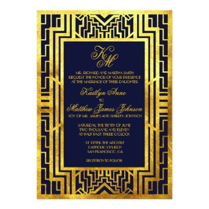 navy gold gatsby art deco wedding invitation card wedding invitation cards gatsby and weddings - Navy And Gold Wedding Invitations