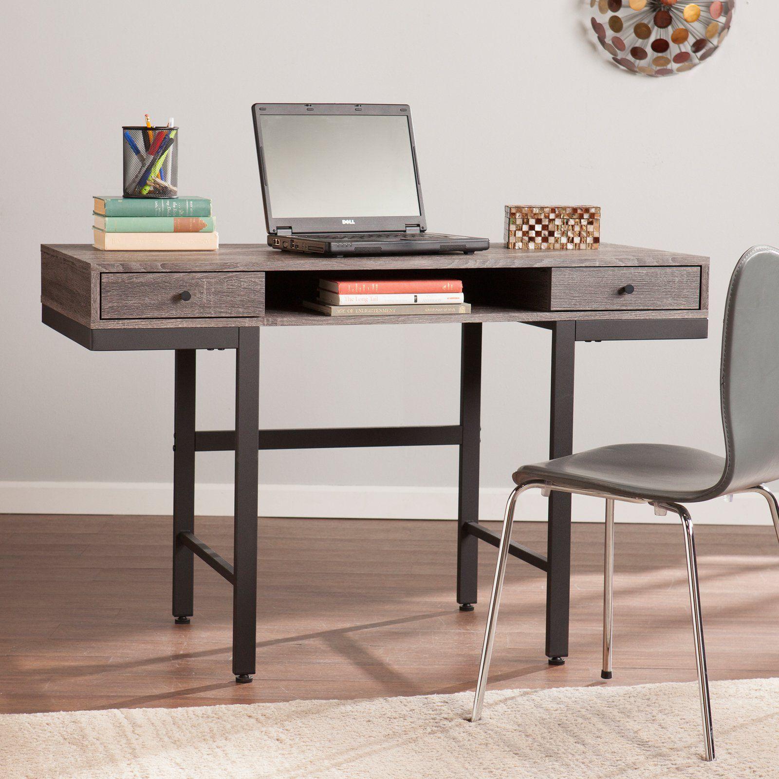 Southern Enterprises Ranleigh Writing Desk Weathered Gray Black Grey Writing Desk Modern Secretary Desk