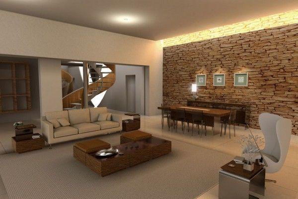 C mo decorar la pared de tu sala de estar con piedra for Sala casa minimalista
