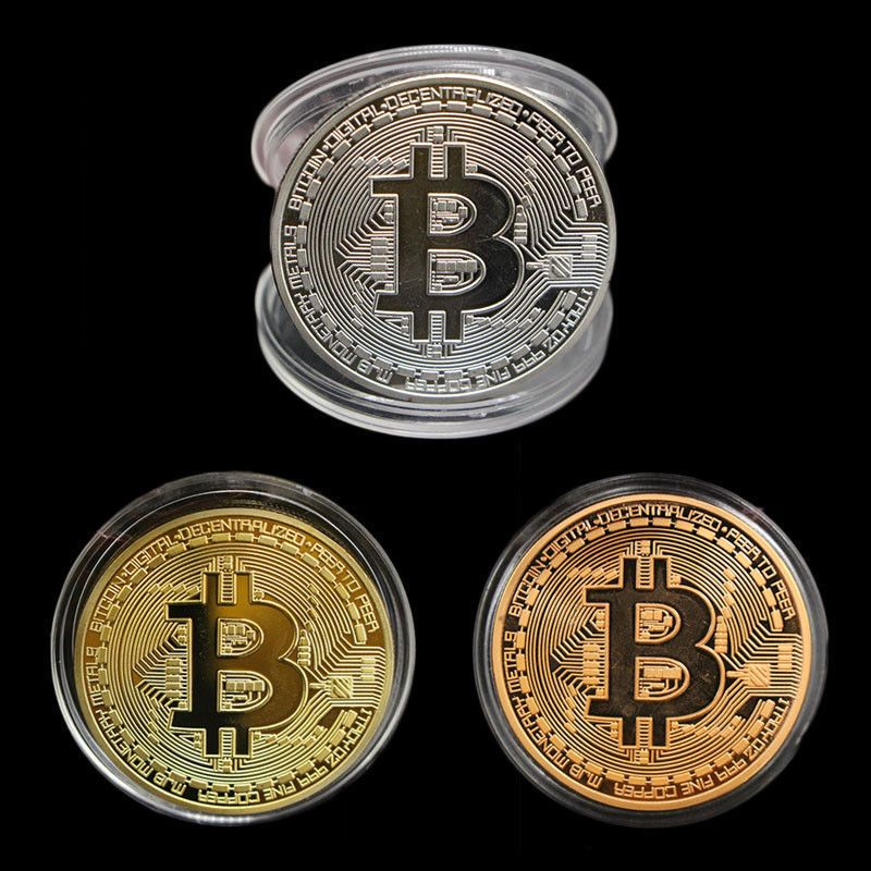 Craft Gold Bitcoin Commemorative Collectors Coin Bit Coin is Gold Plated Coins