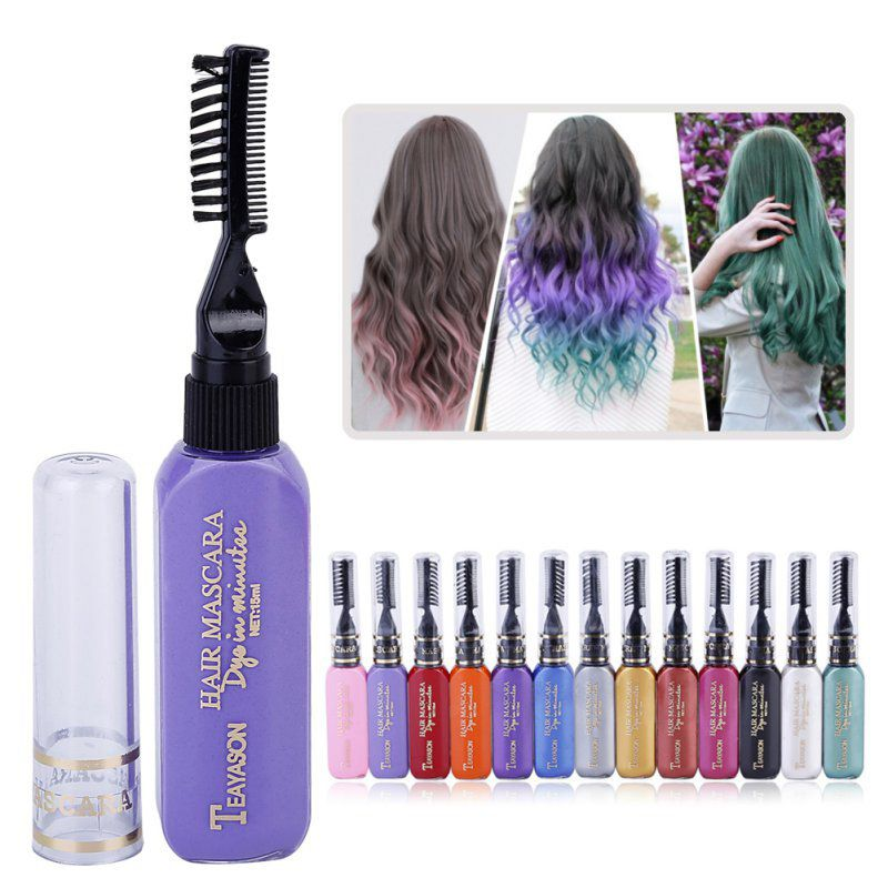 18853a64af3 DIY One-Time Hair Dyes Temporary Non-Toxic Hair Color Mascara Dye 13 Colors