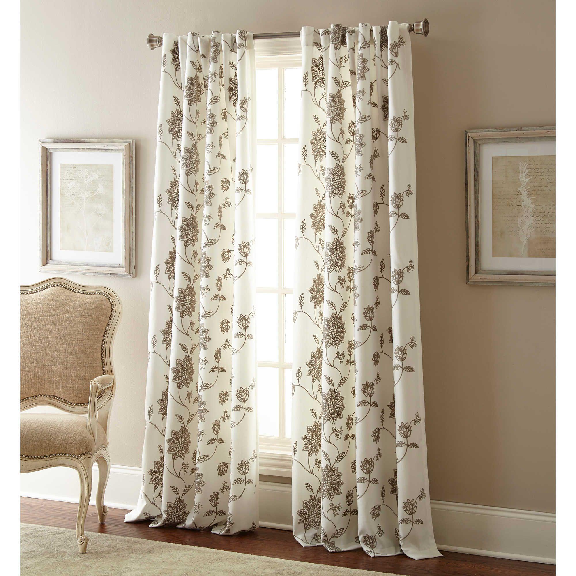 Jaylynn inch rod pocket embroidered window curtain panel in grey