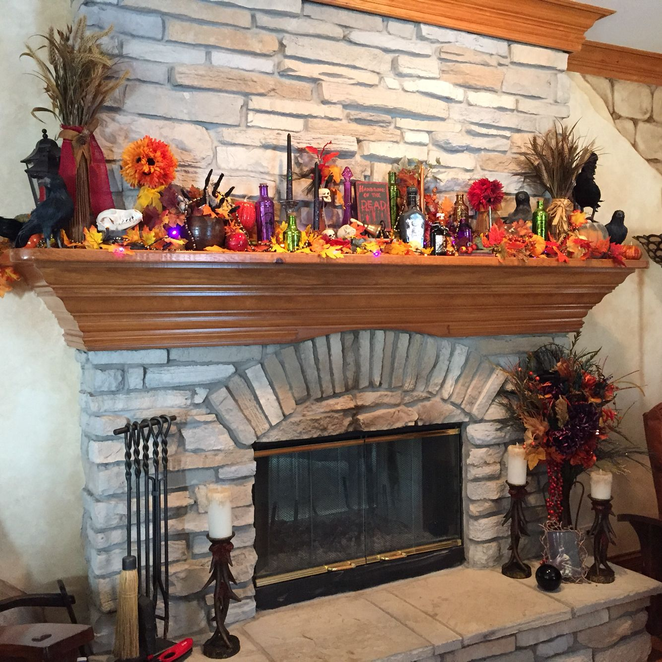 halloween fireplace mantel haunted harvest witch theme - Halloween Fireplace