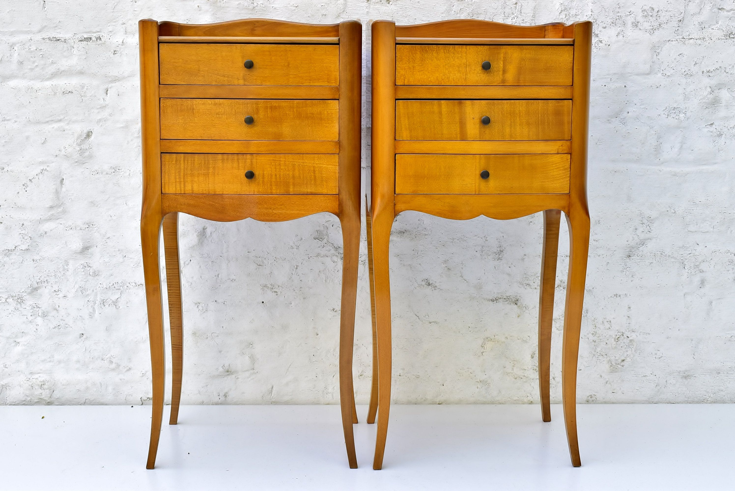 Pair French Bedside Tables Antique Nightstands Of Cherry Wood