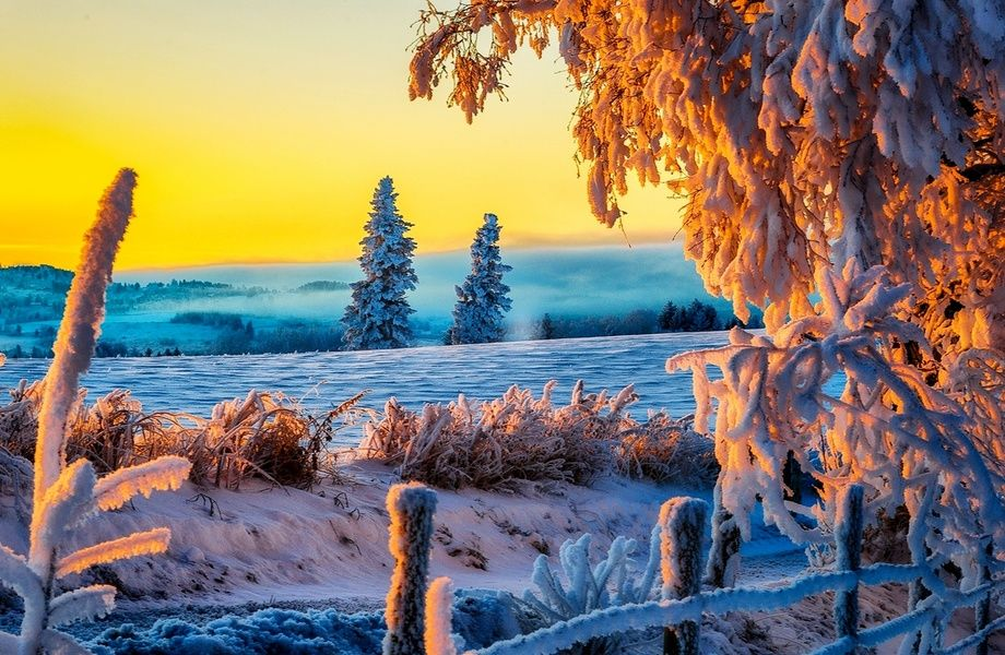 Beautiful Winter Sunrise 4k Ultra Hd Wallpaper 4k Wallpaper Net Winter Scenery Winter Nature Winter Pictures