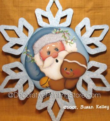 Santa n Ginger ePacket - Susan Kelley - PDF DOWNLOAD #paintingpattern #paintingepattern #santagingersnowflake