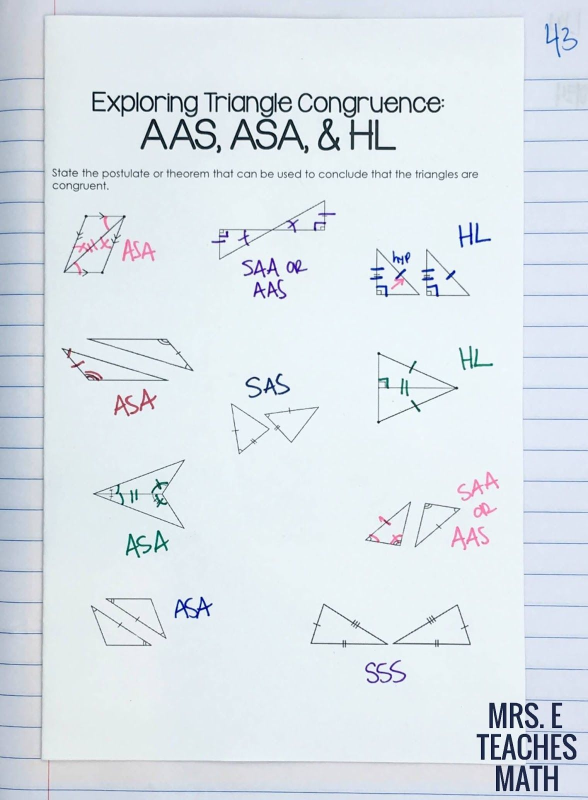 Congruent Triangles Inb Pages Math Methods Triangle Worksheet Congruent Triangles Worksheet