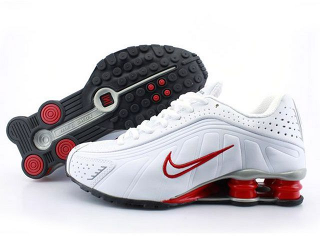 Chaussures Nike Shox R4 Blanc/ Rouge/ Argent