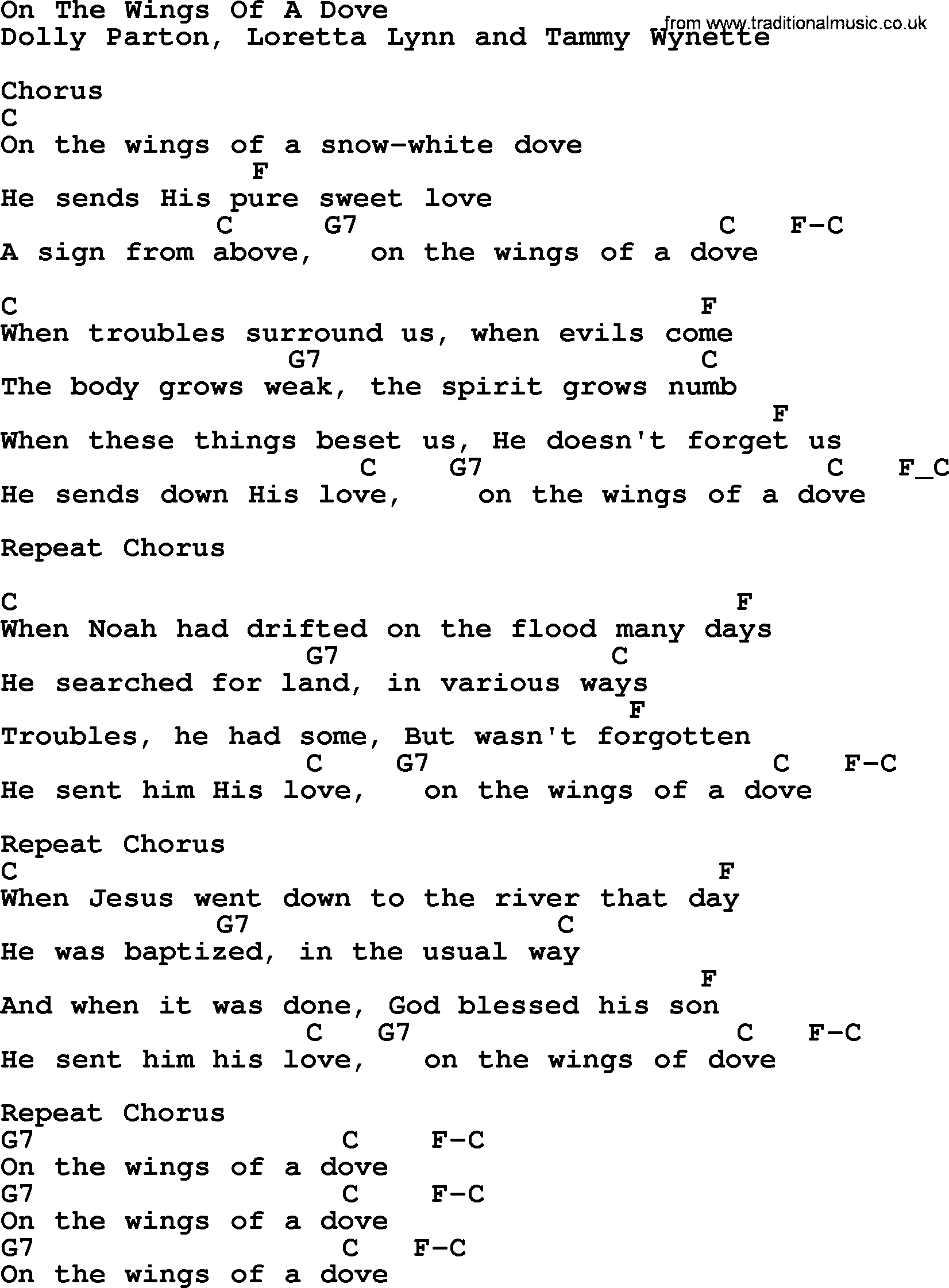 Dolly Parton Song On The Wings Of A Dove Lyrics And Chords Gospel
