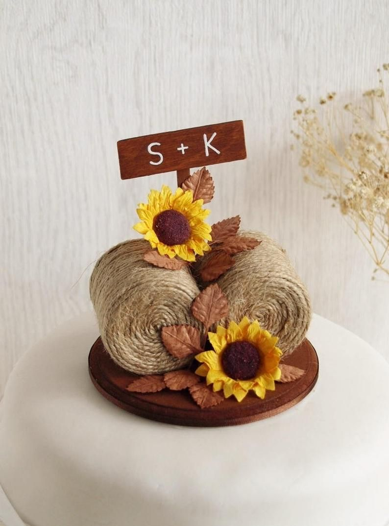Hay bale sunflower cake topper sunflower cake topper