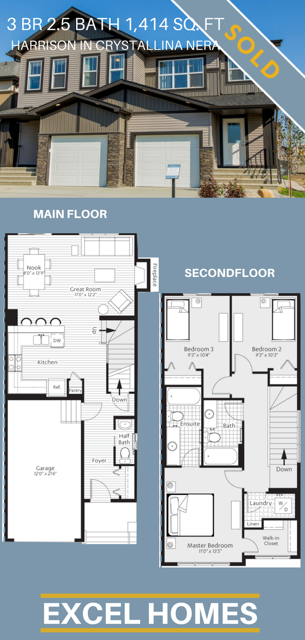 2 Story Floor Plans 3 Bedroom 2 5 Bathroom Home Harrison In Crystallina Nera Show Homes Available From Excel Duplex House Design House Plans Duplex Plans