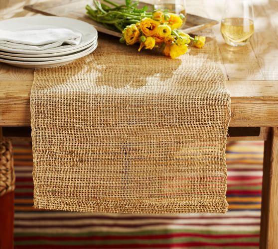 Open Weave Hemp Fiber Table Runner | Pottery Barn